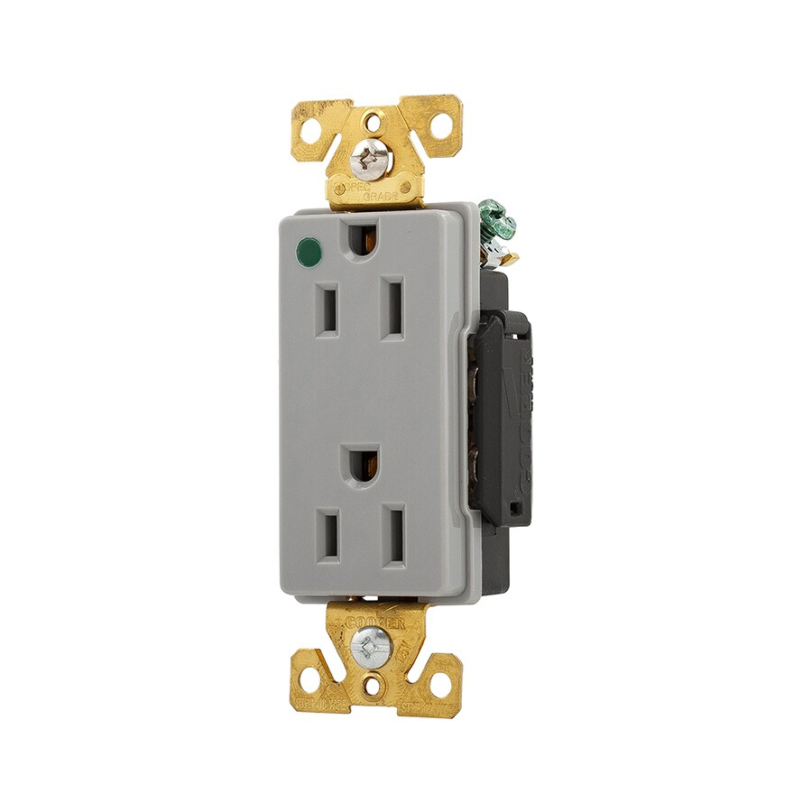 Cooper Wiring Devices 15-Amp 125-Volt Gray Duplex Electrical Outlet