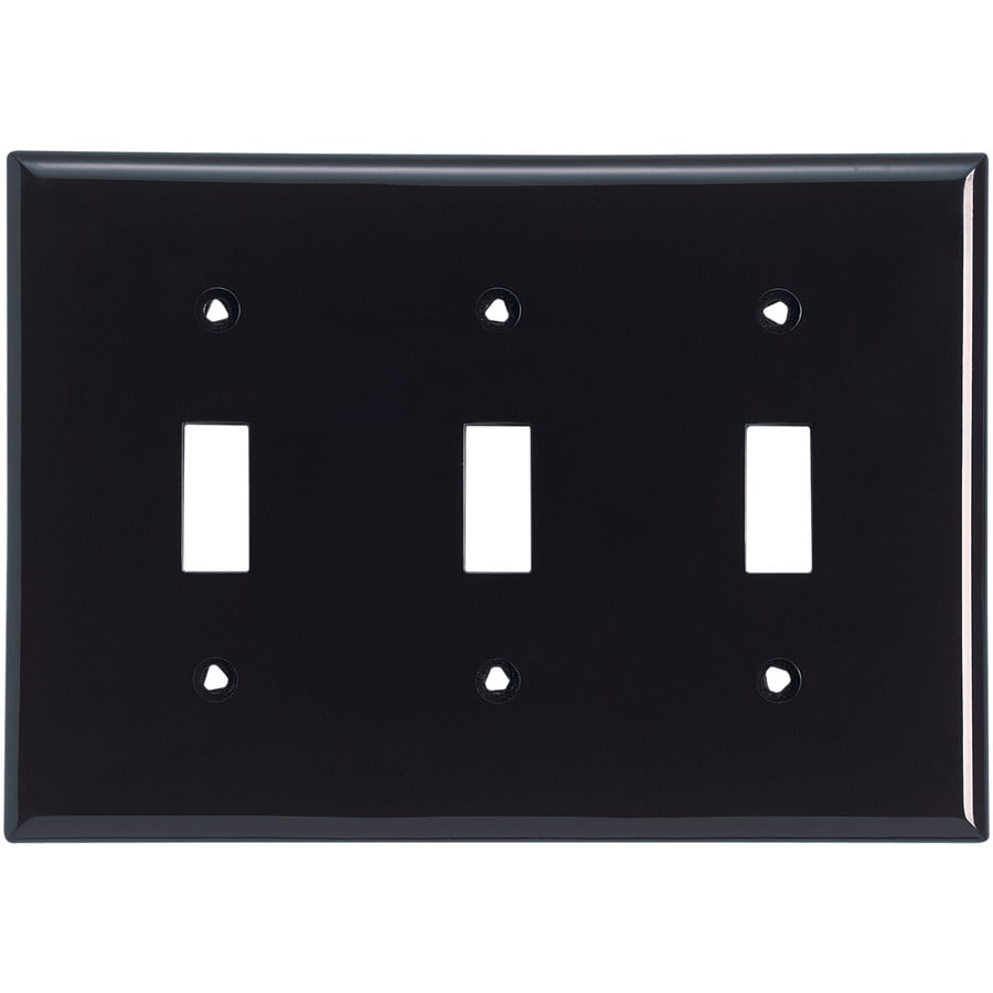 Cooper Wiring Devices 3-Gang Black Toggle Wall Plate