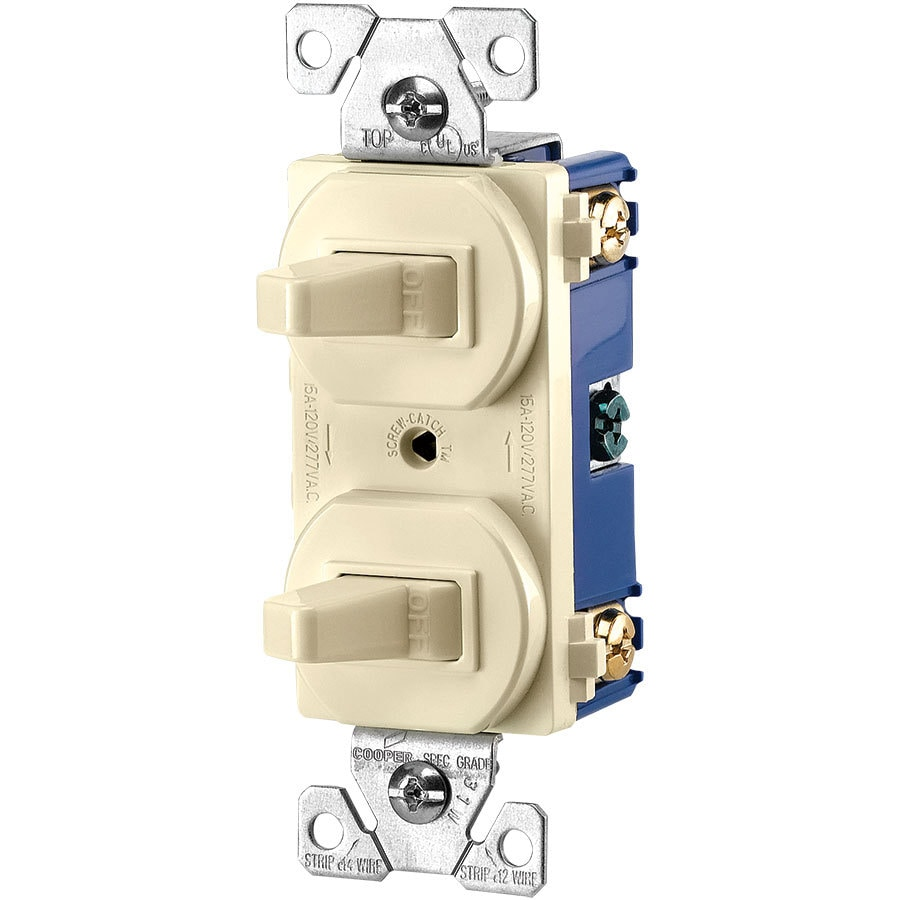 Eaton 2-Switch 15-Amp Single Pole Almond Indoor Toggle Light Switch