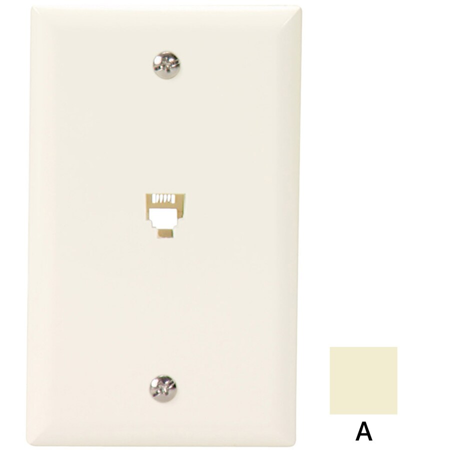 Cooper Wiring Devices 1-Gang Almond Phone Wall Plate