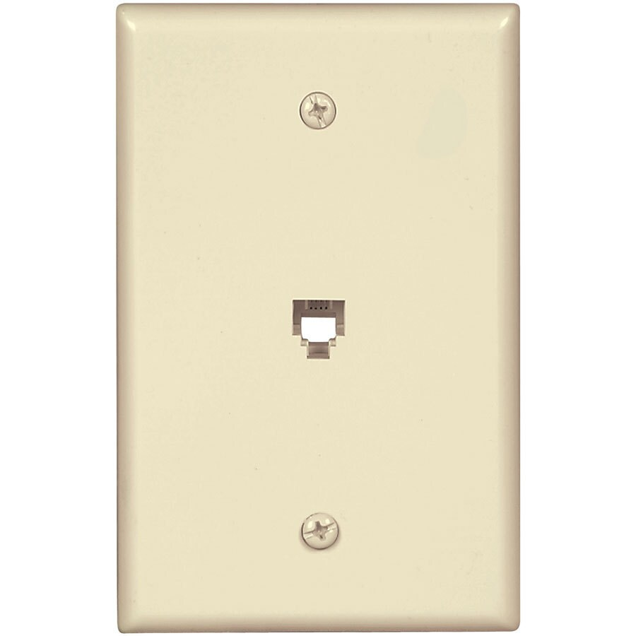 Eaton 1-Gang Almond Single Phone Wall Plate