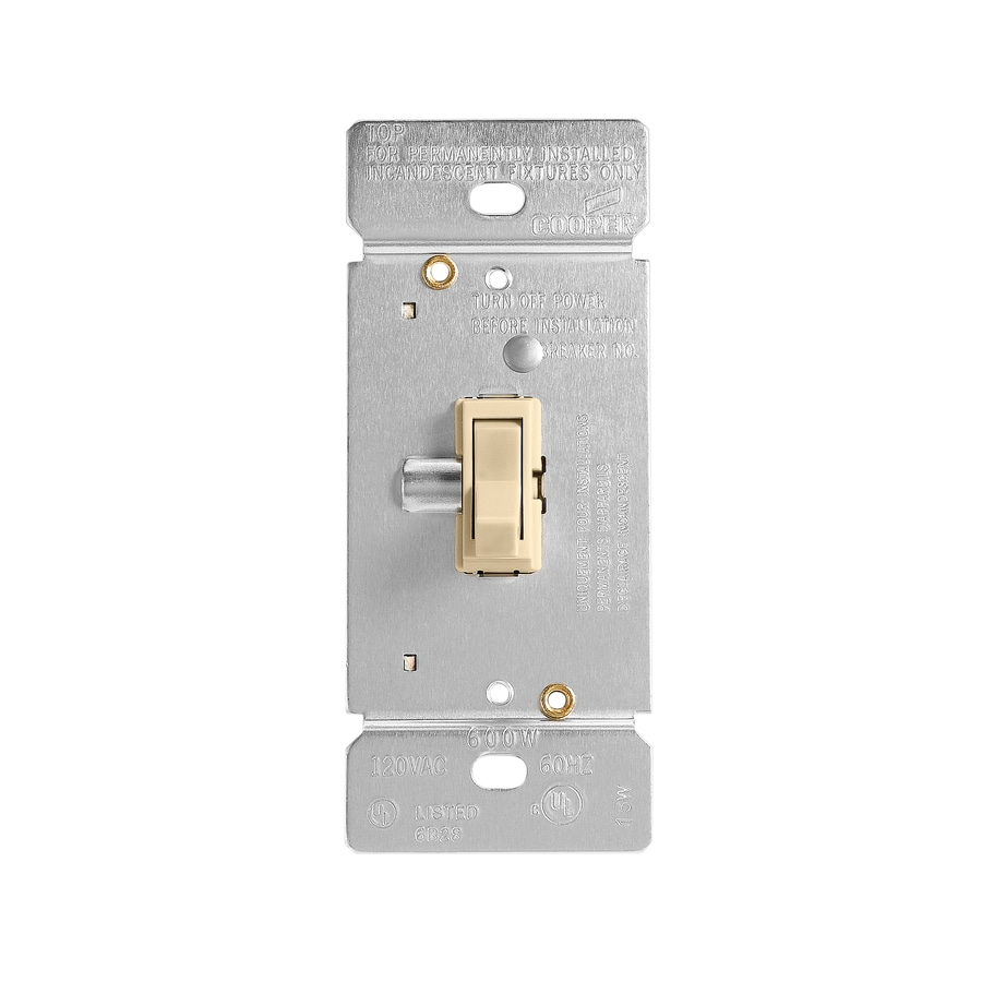 Cooper Wiring Devices 600-Watt 3-Way Single Pole Ivory Indoor Toggle Dimmer