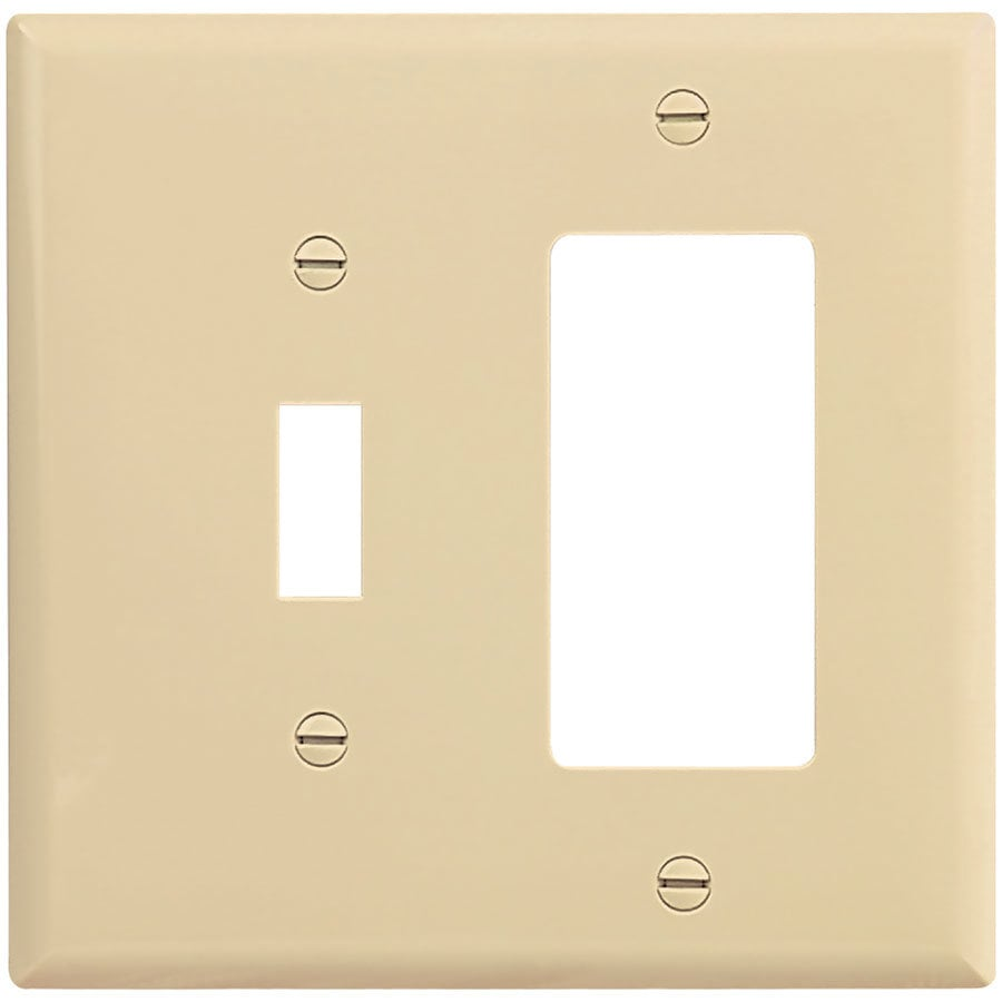 Eaton 2-Gang Ivory Single Toggle/Decorator Wall Plate