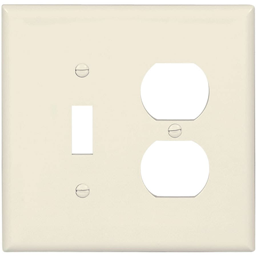 Eaton 2-Gang Light Almond Single Toggle/Duplex Wall Plate