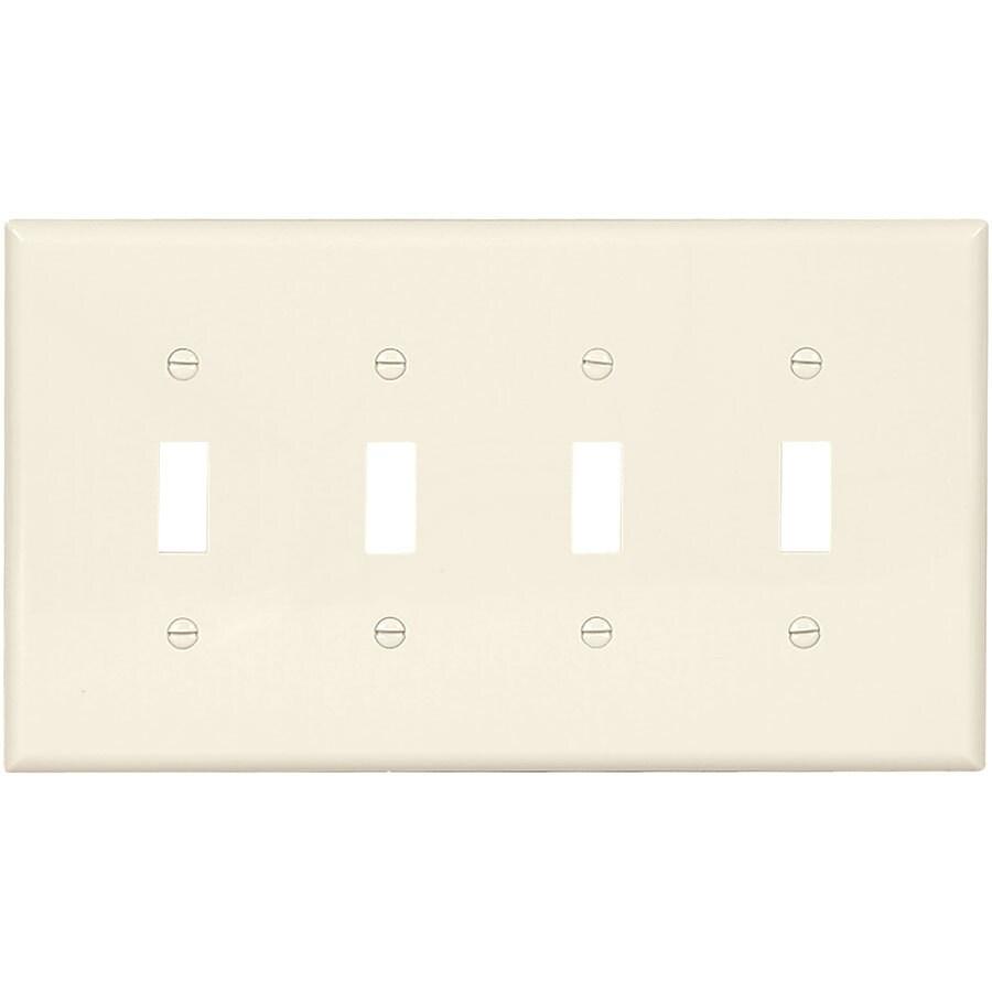 Eaton 4-Gang Light Almond Quad Toggle Wall Plate