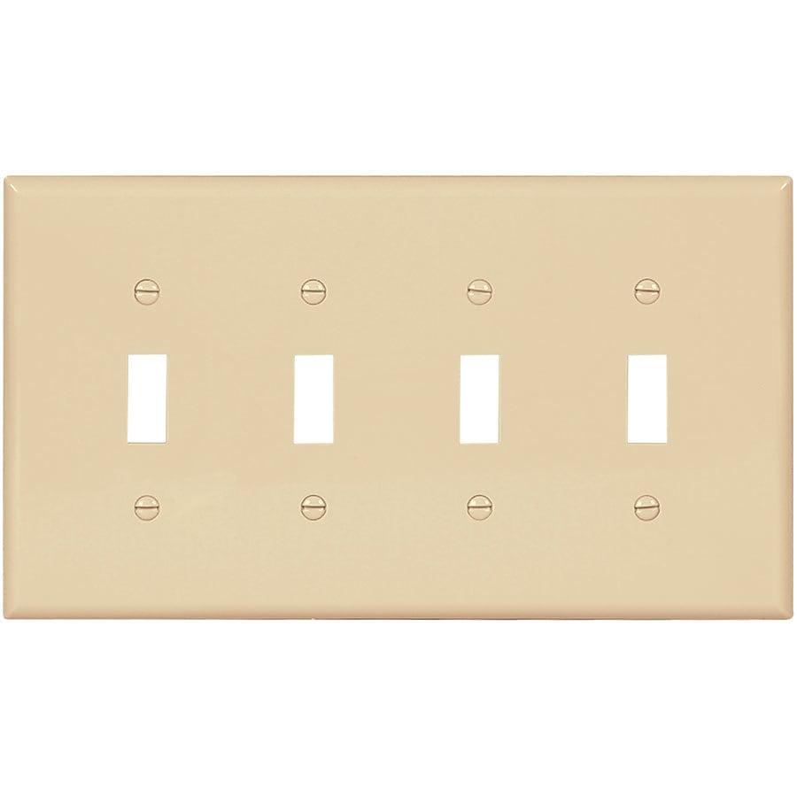 Eaton 4-Gang Ivory Quad Toggle Wall Plate