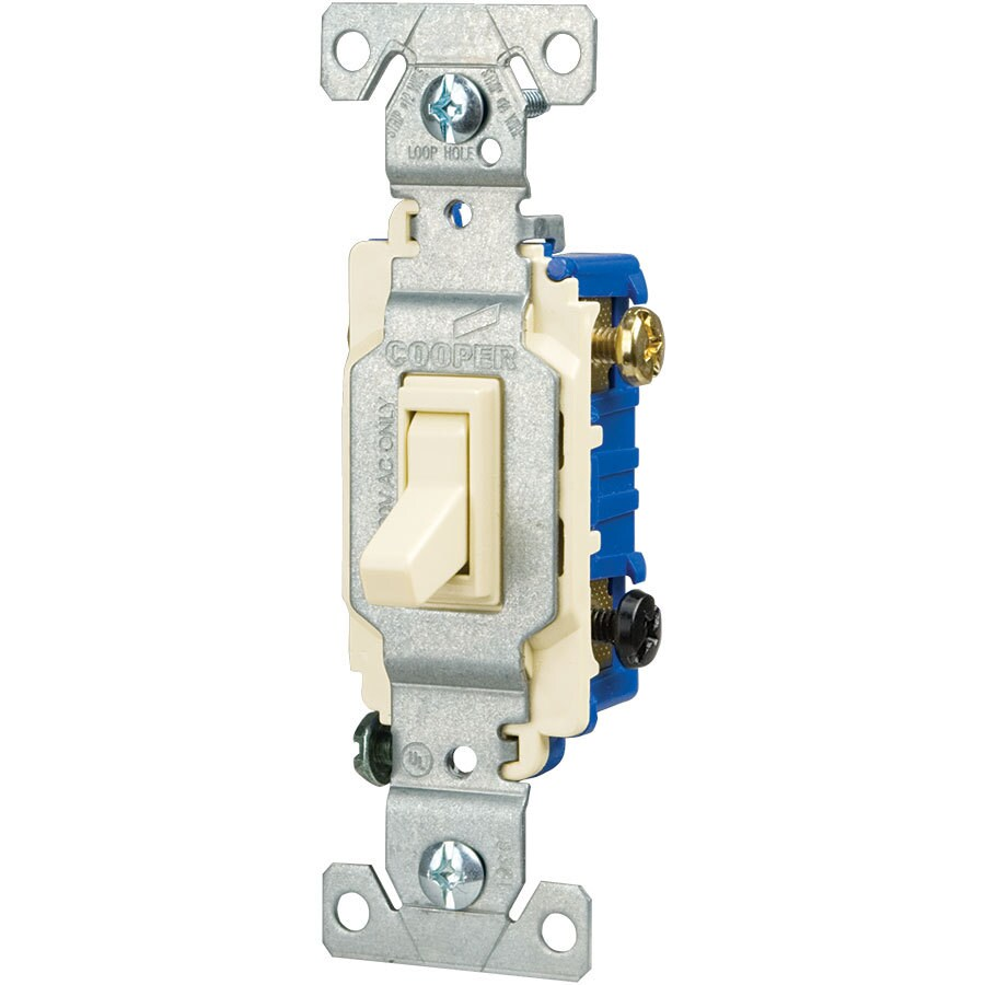 Eaton 15-Amp 3-Way Single Pole Light Almond Indoor Toggle Light Switch