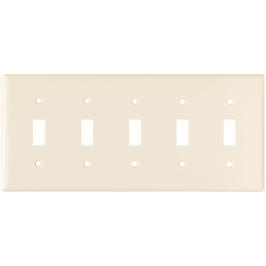 Cooper Wiring Devices 5-Gang Light Almond Toggle Wall Plate