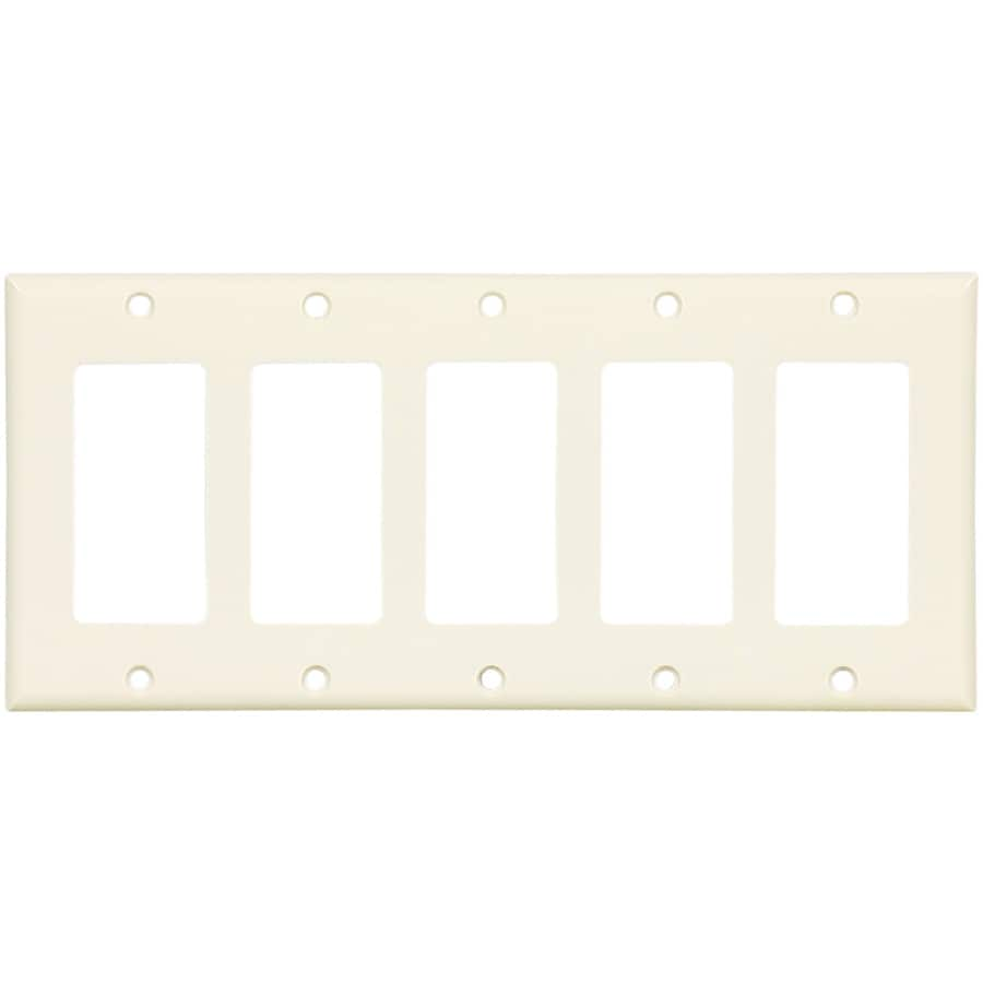 Cooper Wiring Devices 5-Gang Light Almond Decorator Wall Plate