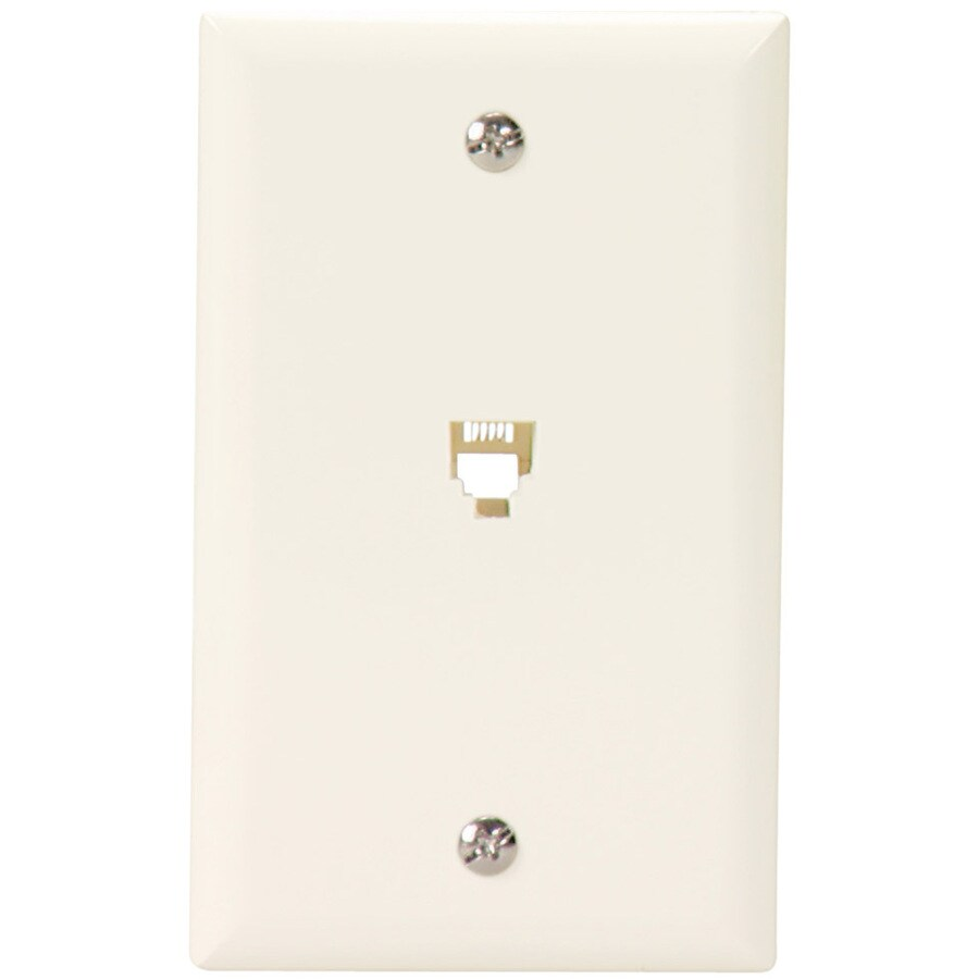 Cooper Wiring Devices 1-Gang Light Almond Phone Wall Plate