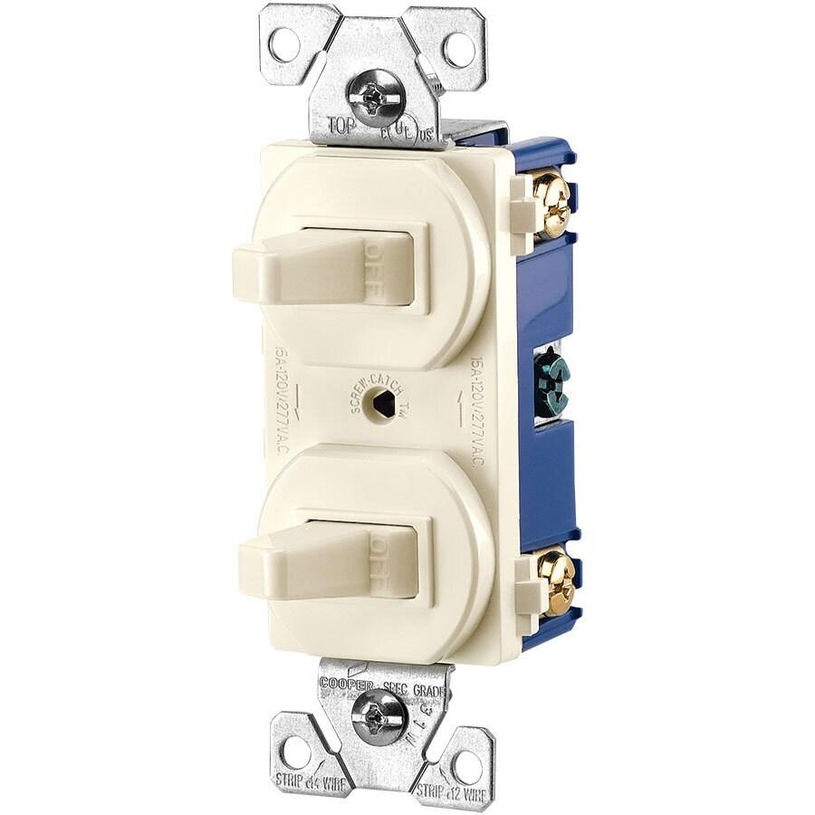 Eaton 2-Switch 15-Amp Single Pole Light Almond Indoor Toggle Light Switch
