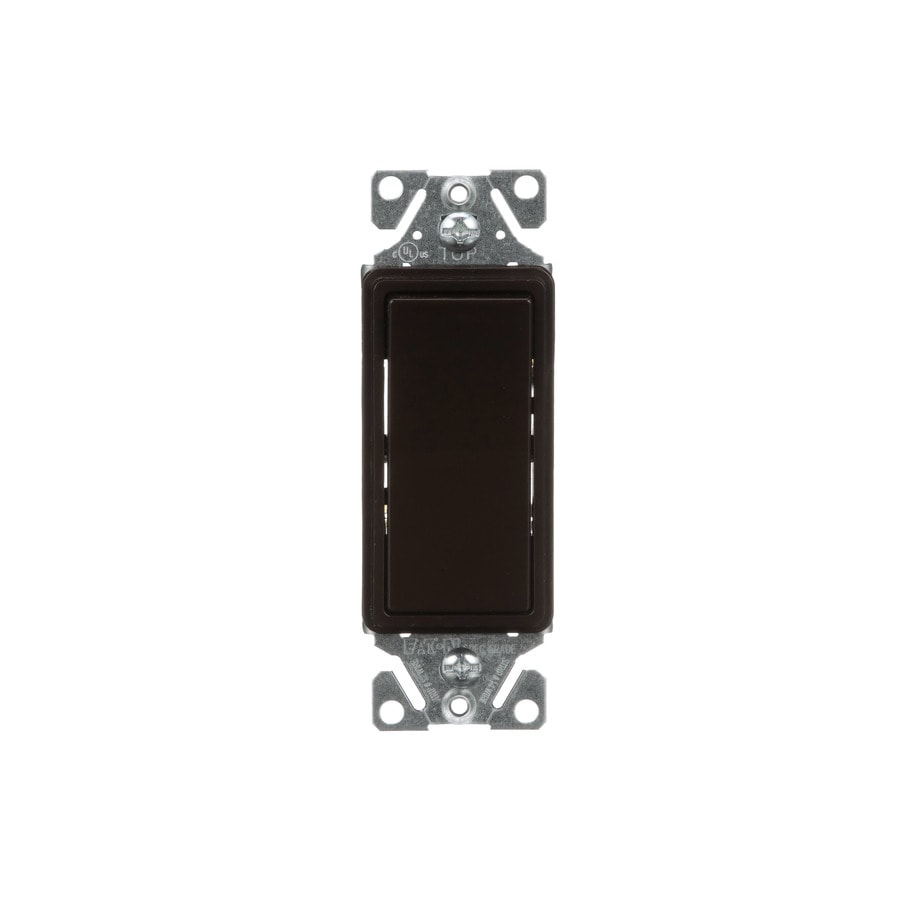 Eaton 15-Amp 3-Way Single Pole Brown Indoor Rocker Light Switch