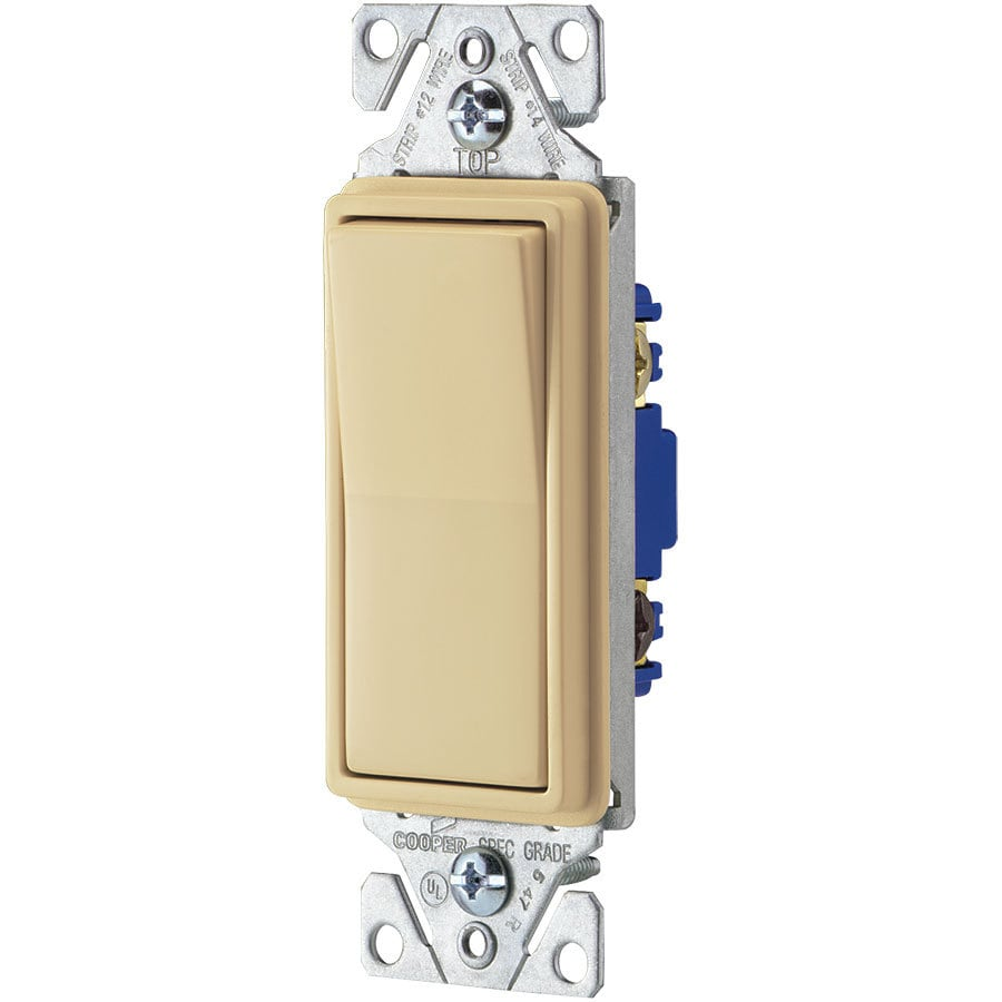 Cooper Wiring Devices 15-Amp 3-Way Single Pole Ivory Indoor Rocker Light Switch