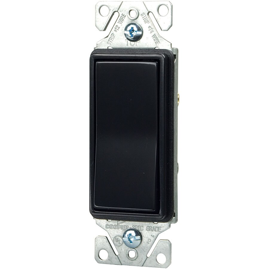 Eaton 15-Amp 3-Way Single Pole Black Indoor Rocker Light Switch