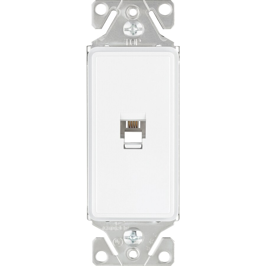Cooper Wiring Devices 1-Gang White Satin Phone Wall Plate