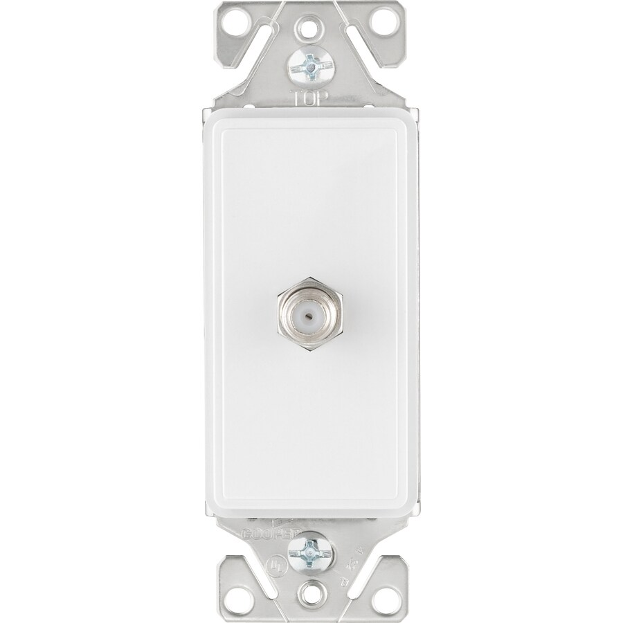 Cooper Wiring Devices 1-Gang White Satin Coaxial Wall Plate