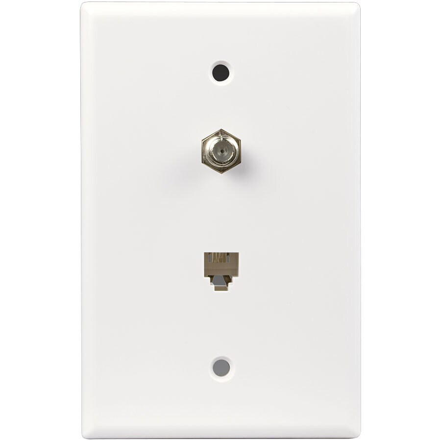Eaton 1-Gang White Single Phone/Coaxial Wall Plate Adapter