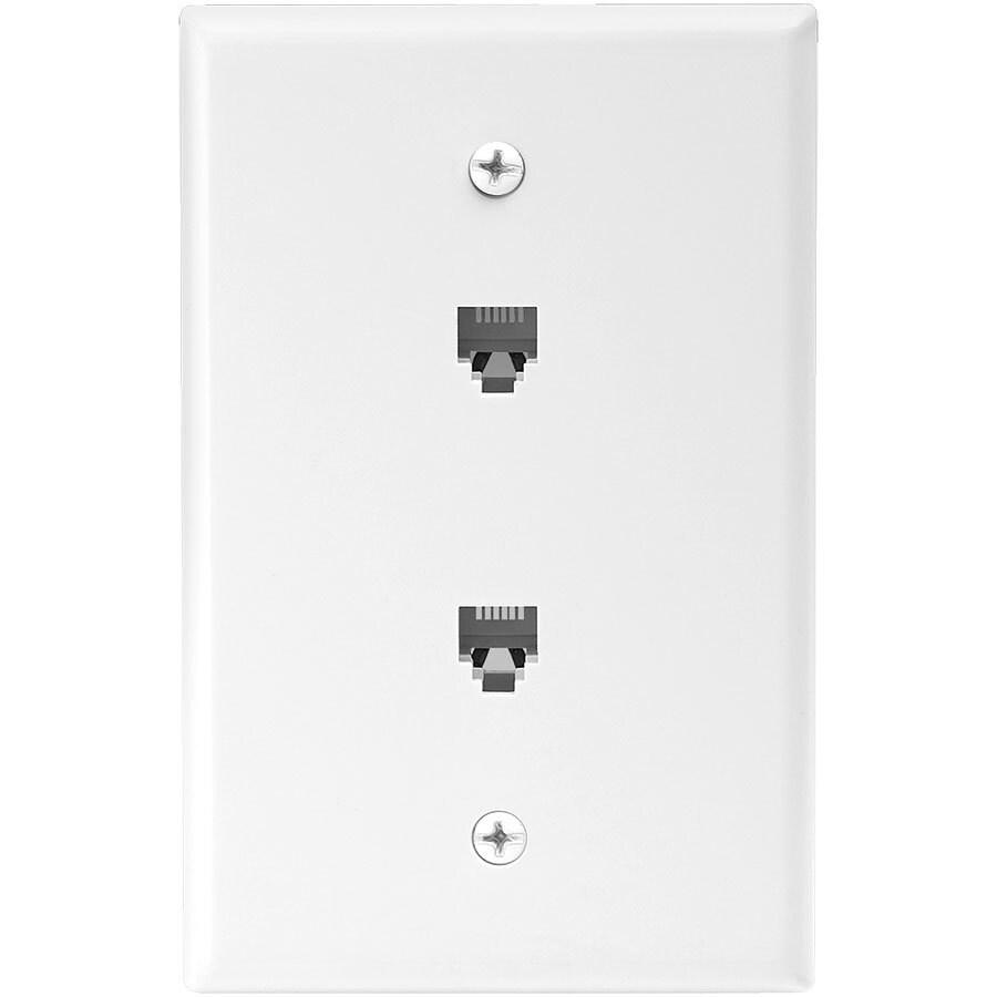 Eaton 1-Gang White Single Phone Wall Plate