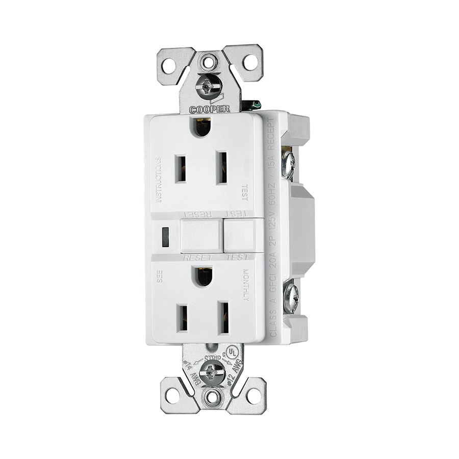 Cooper Wiring Devices 3-Pack 15-Amp 125-Volt White GFCI Decorator Electrical Outlet