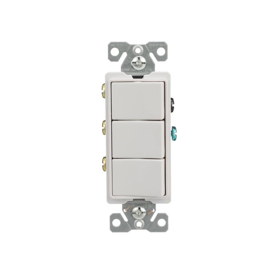 Eaton 3-Switch 15-Amp Single Pole White Indoor Rocker Light Switch