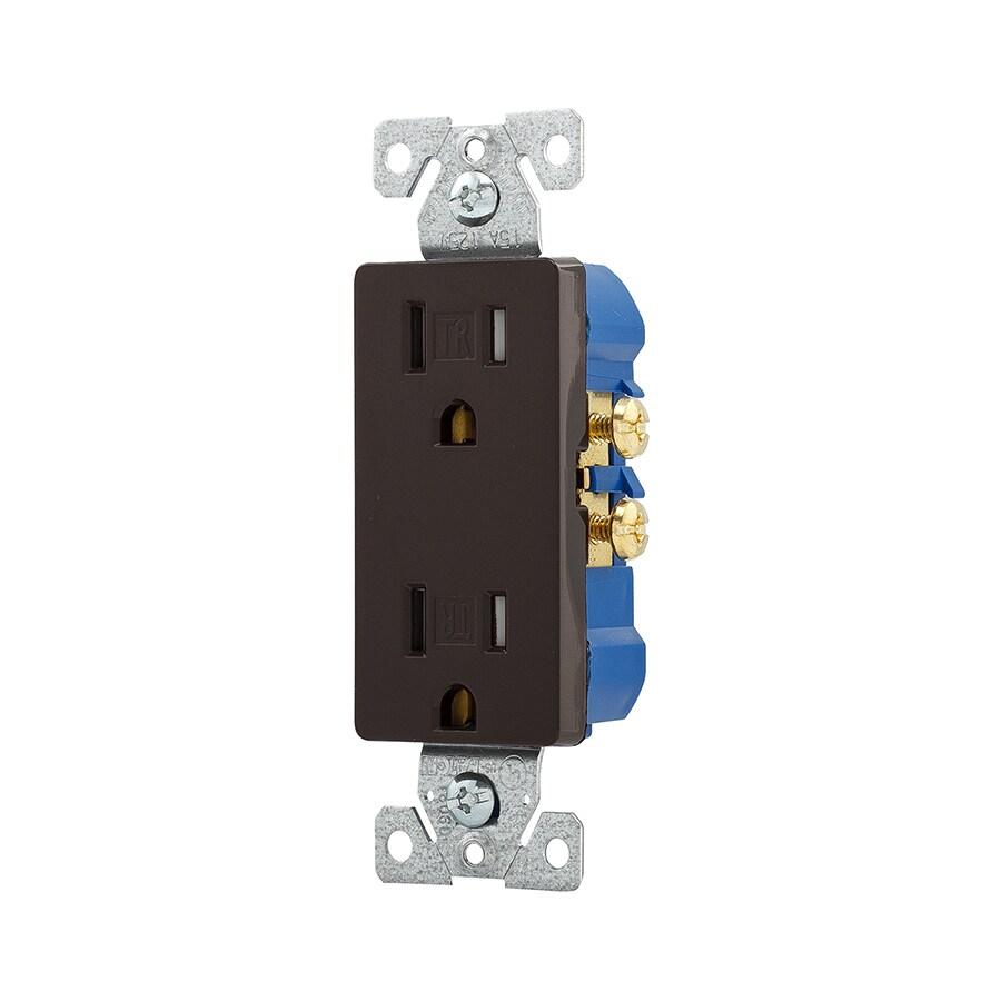 Eaton 15-Amp 125-Volt Brown Indoor Decorator Wall Tamper Resistant Outlet