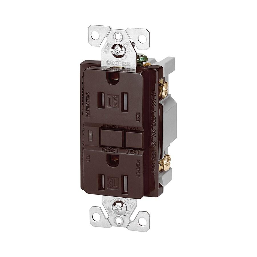 Cooper Wiring Devices 15-Amp 125-Volt Brown GFCI Decorator Tamper Resistant Electrical Outlet