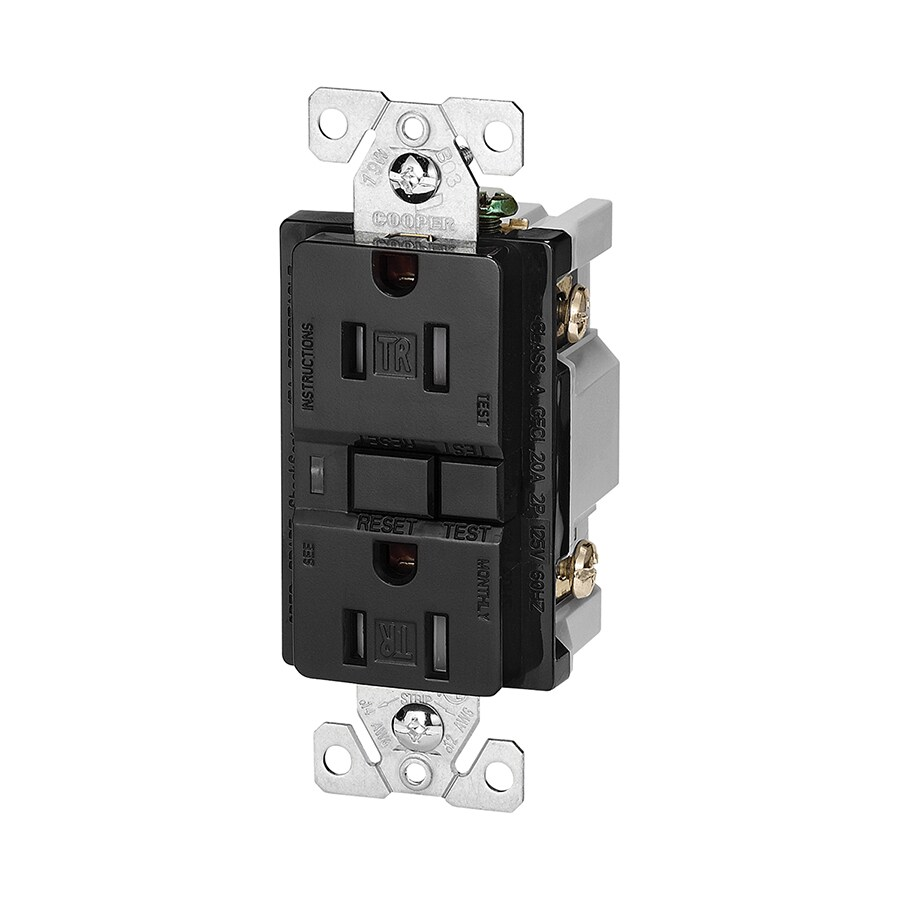 Cooper Wiring Devices 15-Amp 125-Volt Black GFCI Decorator Tamper Resistant Electrical Outlet