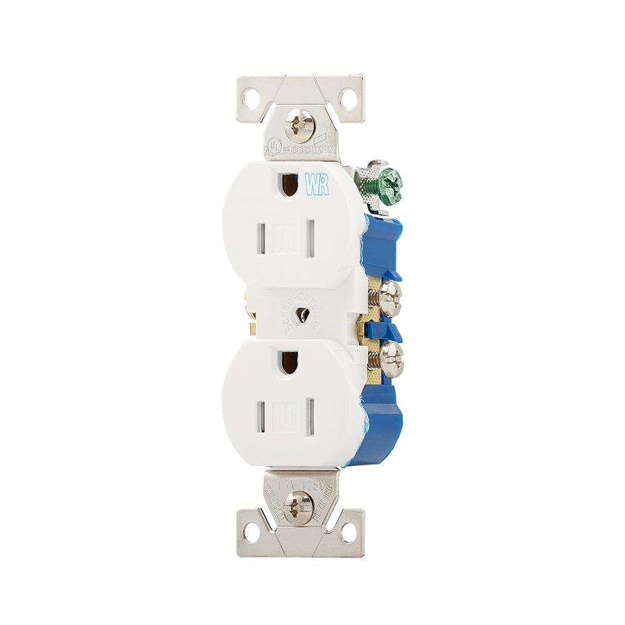 Eaton 15-Amp 125-Volt White Outdoor Duplex Wall Tamper Resistant Outlet