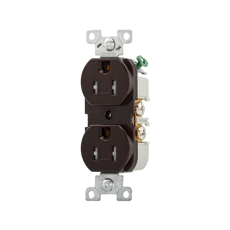 Eaton 15-Amp 125-Volt Brown Indoor Duplex Wall Tamper Resistant Outlet