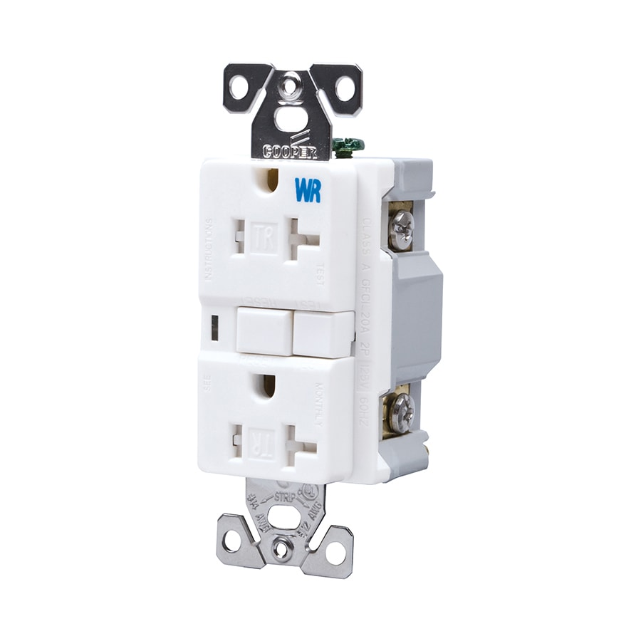 Cooper Wiring Devices 20-Amp 125-Volt White GFCI Decorator Tamper Resistant Electrical Outlet