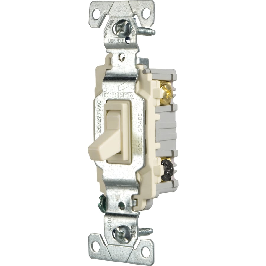 Cooper Wiring Devices 3-Way Single Pole Light Almond Light Switch