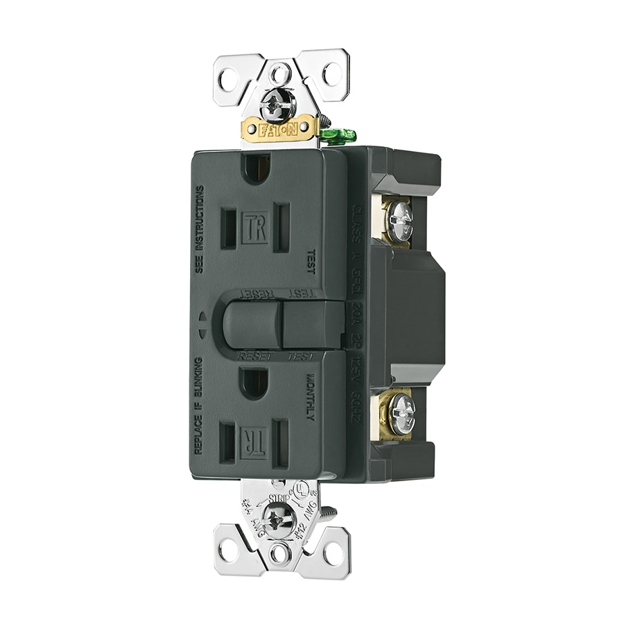 Cooper Wiring Devices ASPIRE 15-Amp 125-Volt Silver Granite GFCI Decorator Tamper Resistant Electrical Outlet