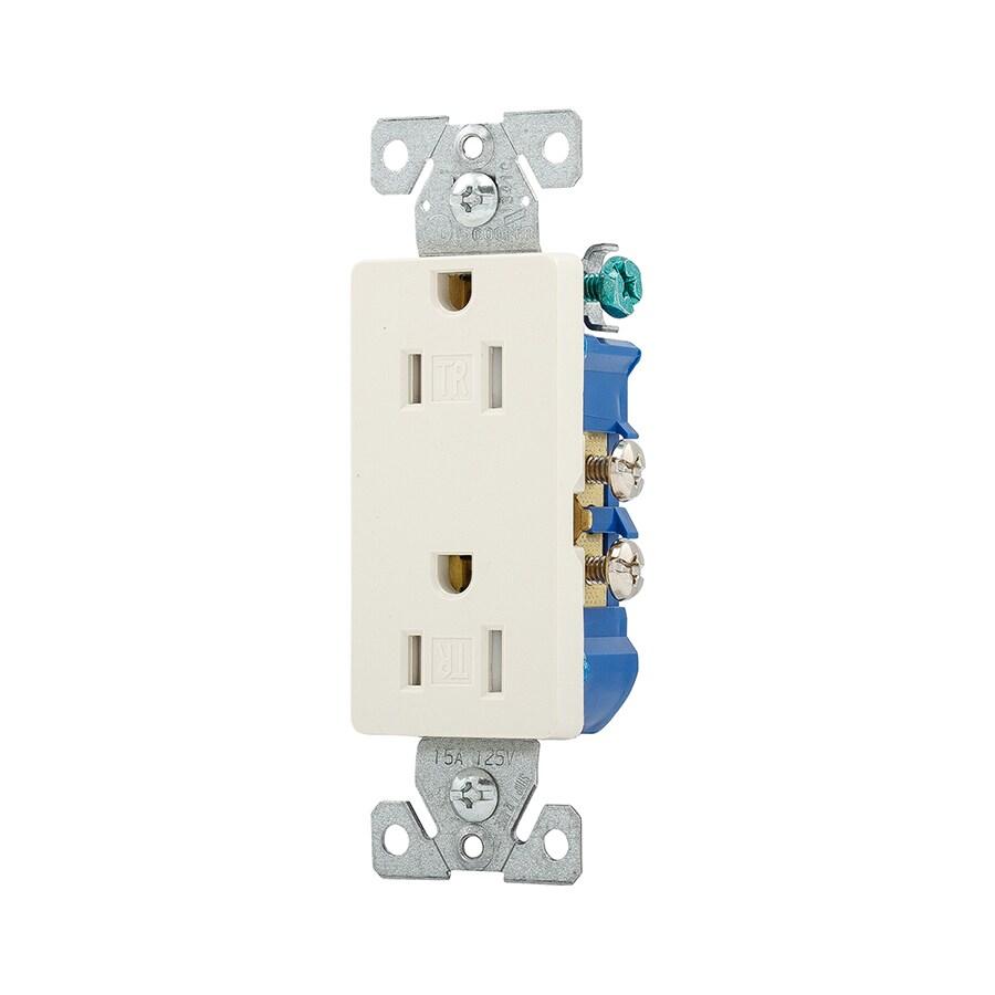 Eaton 15-Amp 125-Volt Light Almond Indoor Decorator Wall Tamper Resistant Outlet