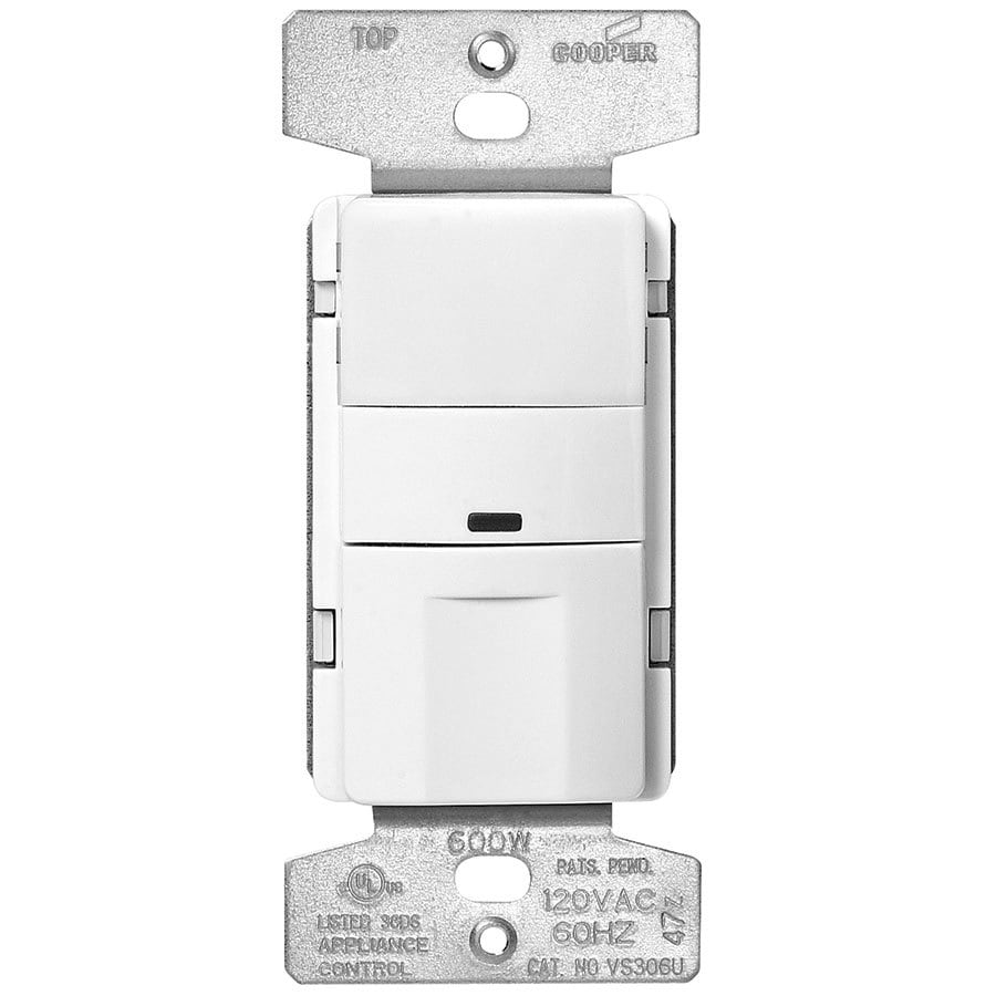 Eaton 600-Watt 3-Way Single Pole White Indoor Push Vacancy Sensor