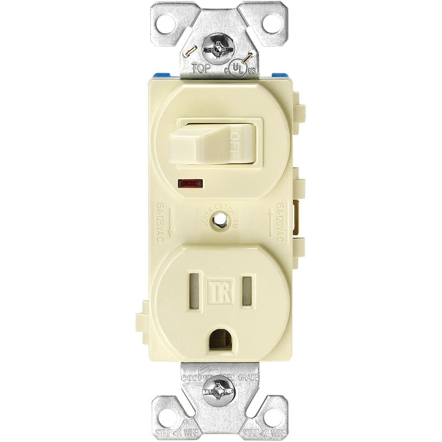 Eaton 15-Amp 125-Volt Almond Indoor Duplex Wall Tamper Resistant Outlet/Switch