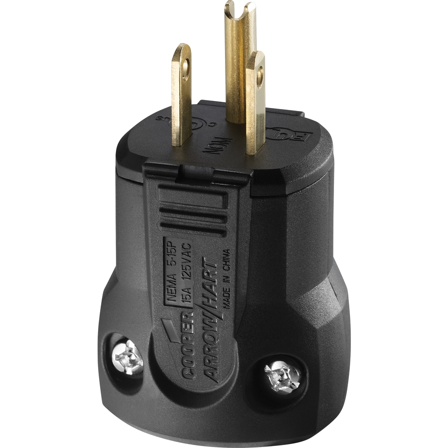 Cooper Wiring Devices 15-Amp 125-Volt Black 3-Wire Grounding Plug