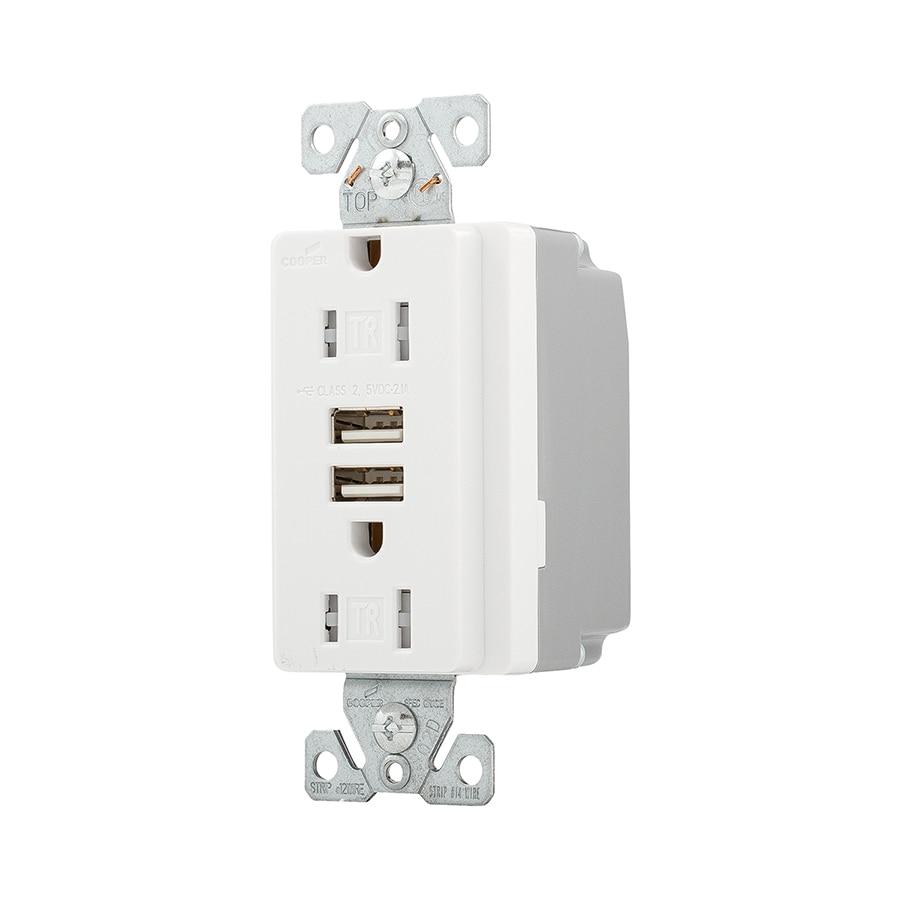 Cooper Wiring Devices Cooper Wiring Devices 15-Amp 125-Volt White Duplex Tamper Resistant Electrical Outlet