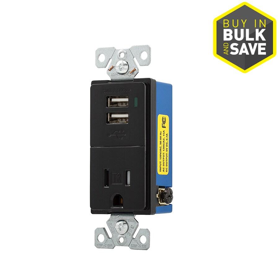 Eaton 15-Amp 125-Volt Black Indoor Decorator Wall Tamper Resistant Outlet/USB
