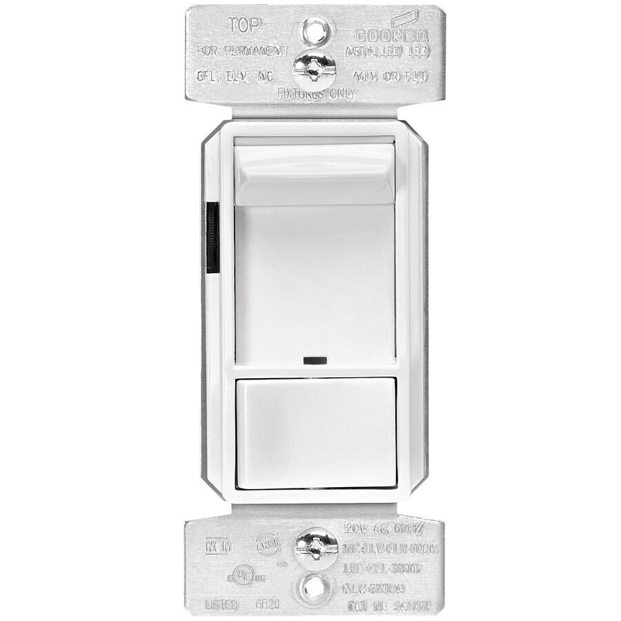 Eaton 600-Watt 3-Way Single Pole White Indoor Rocker Dimmer