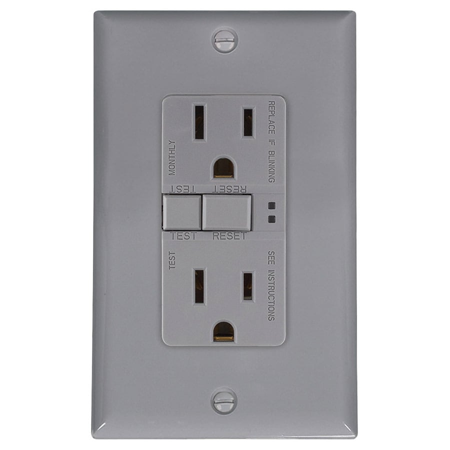 Eaton 15-Amp 125-Volt Gray Indoor GFCI Decorator Wall Outlet