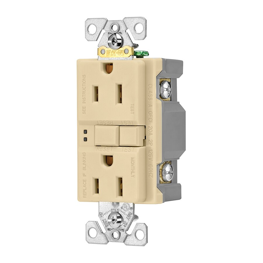 Eaton 3-Pack 15-Amp 125-Volt Ivory Indoor GFCI Decorator Wall Outlet