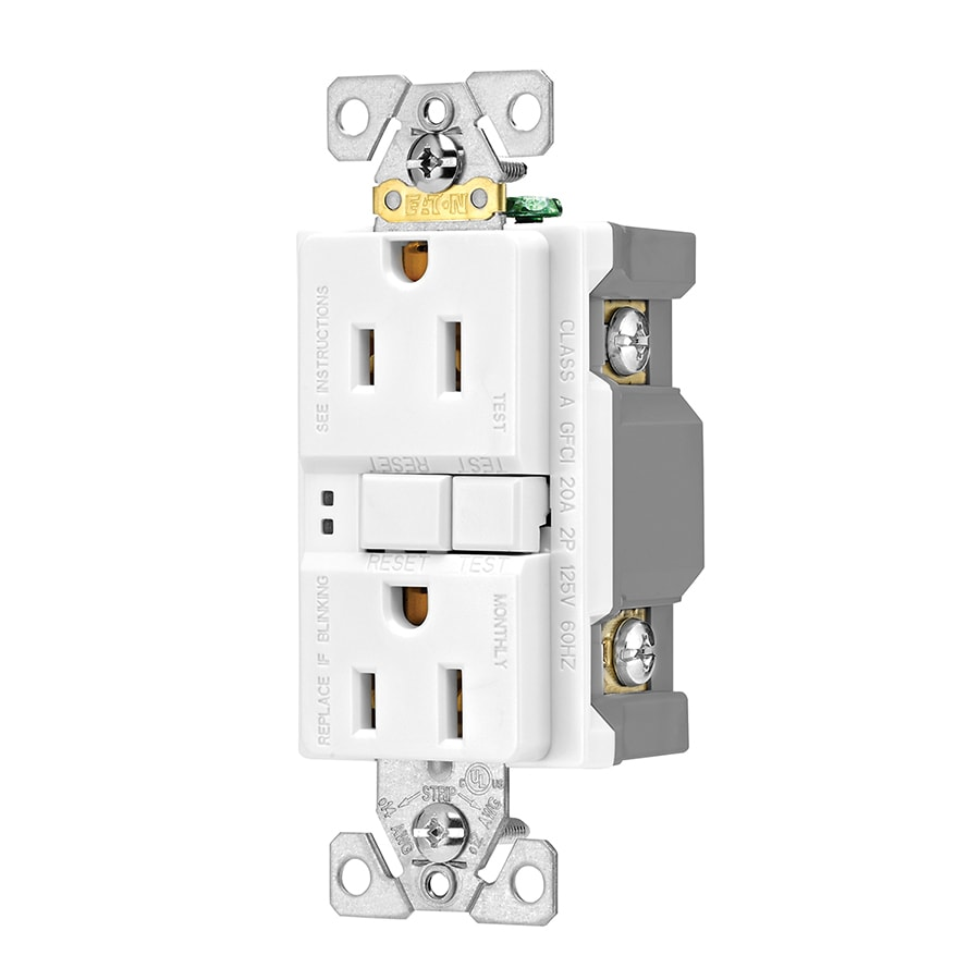 Eaton 3-Pack 15-Amp 125-Volt White Indoor GFCI Decorator Wall Outlet
