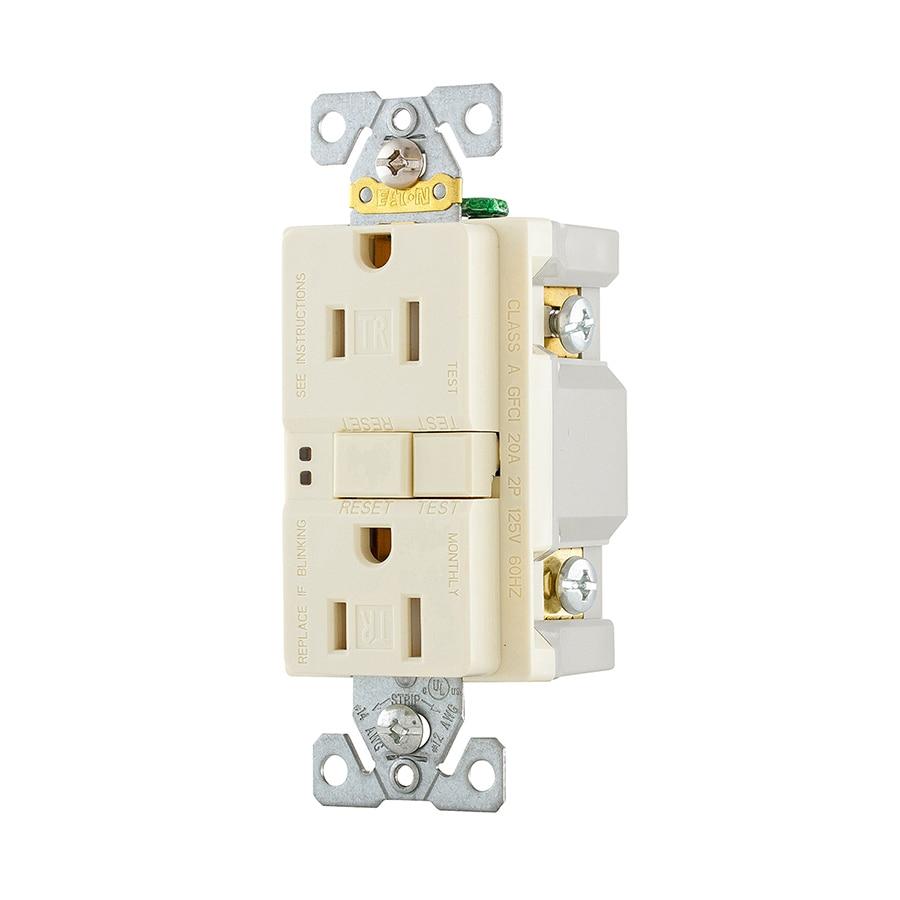 Eaton 3-Pack 15-Amp 125-Volt Light Almond Indoor GFCI Decorator Wall Tamper Resistant Outlet