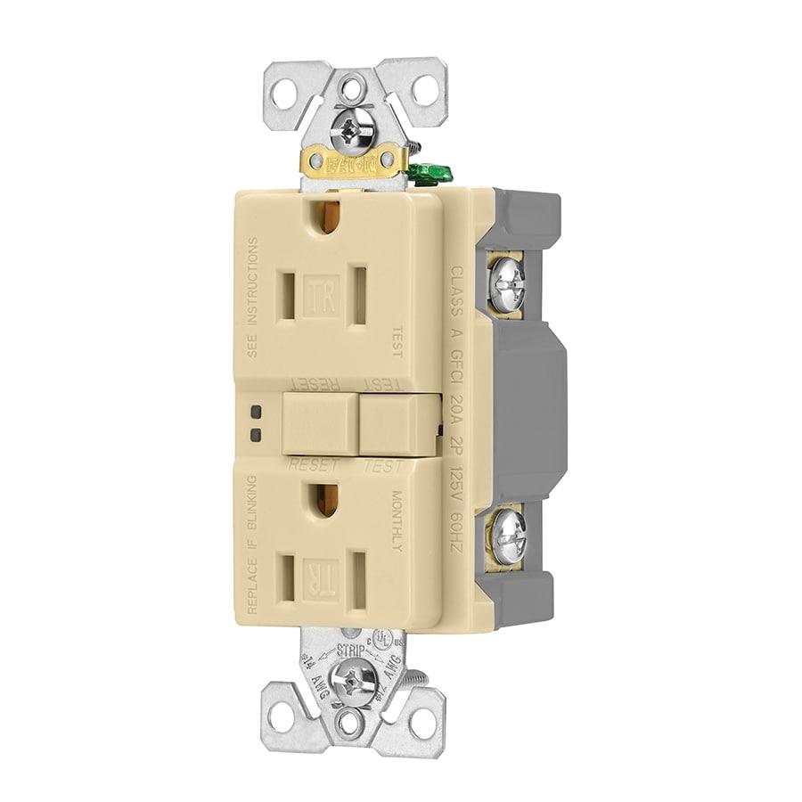 Eaton 3-Pack 15-Amp 125-Volt Ivory Indoor GFCI Decorator Wall Tamper Resistant Outlet