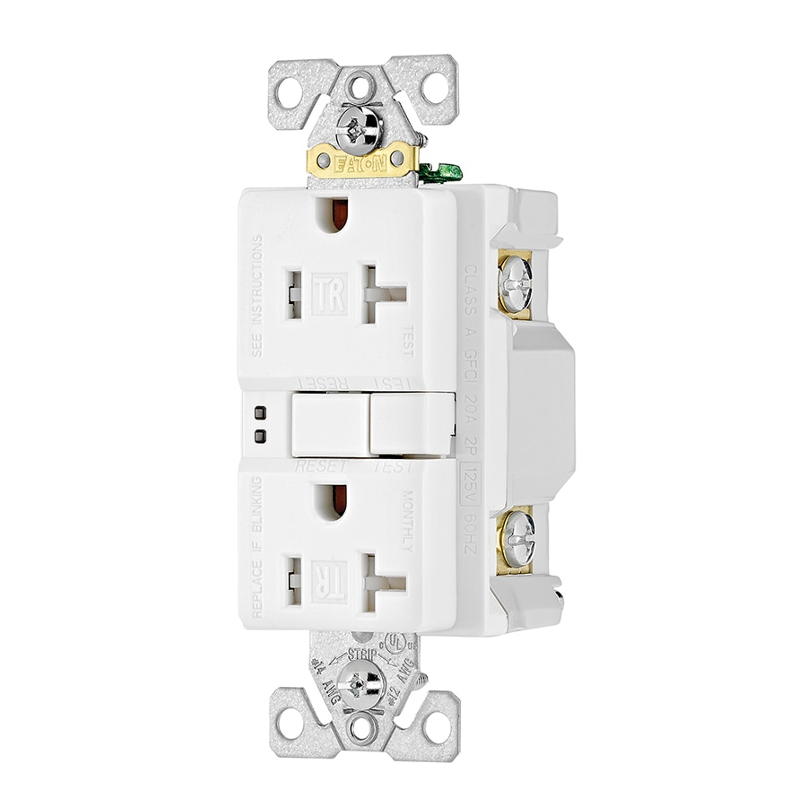 Eaton 20-Amp 125-Volt White Indoor GFCI Decorator Wall Tamper Resistant Outlet
