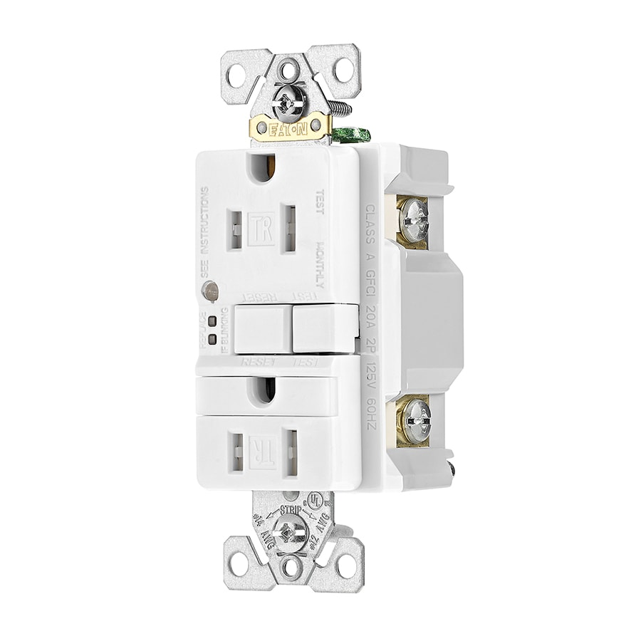 Eaton 15-Amp 125-Volt White Indoor GFCI Decorator Wall Tamper Resistant Outlet