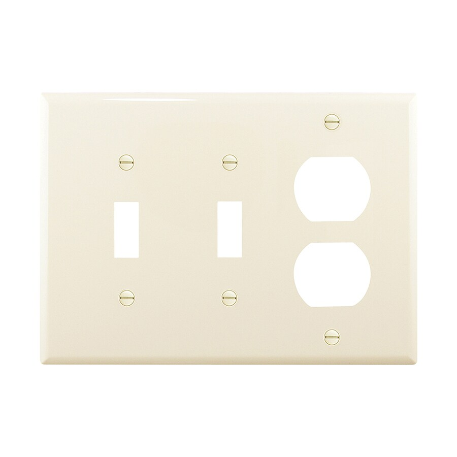 Eaton 3-Gang Light Almond Double Toggle/Duplex Wall Plate
