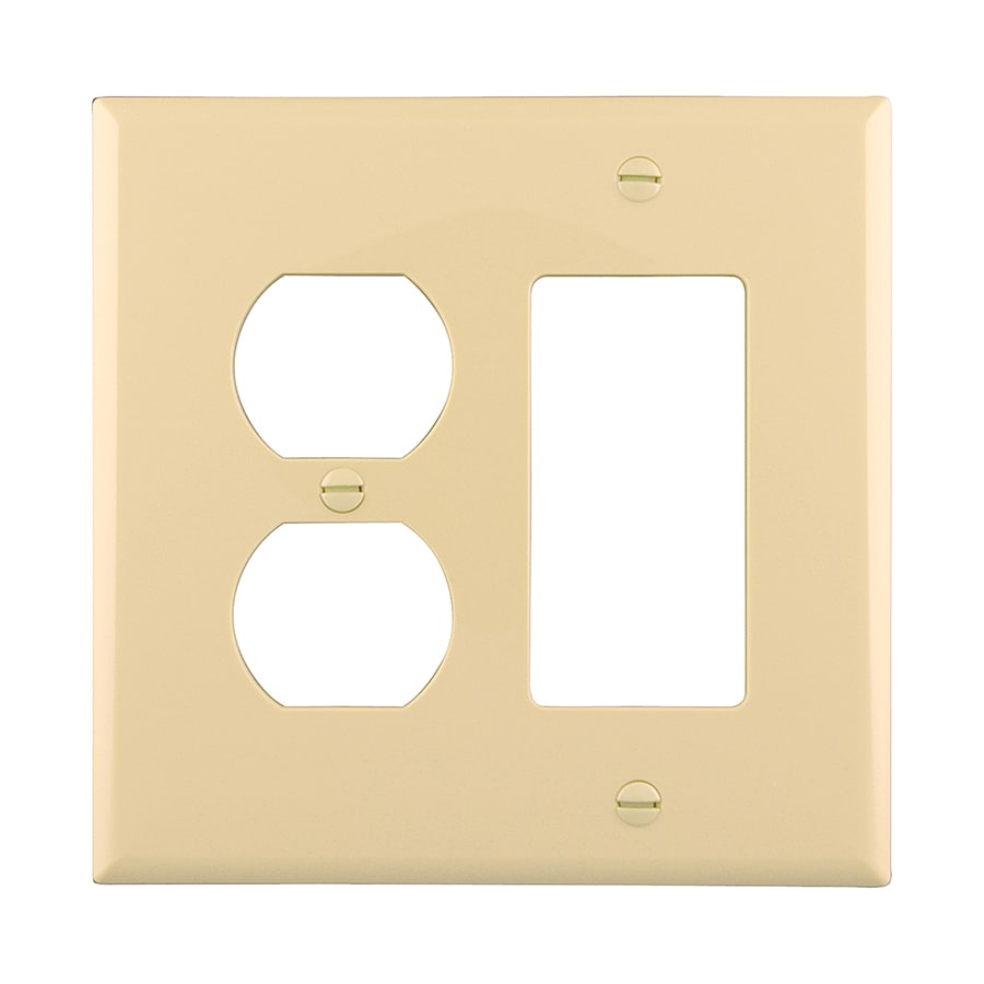 Eaton 2-Gang Ivory Single Duplex/Decorator Wall Plate