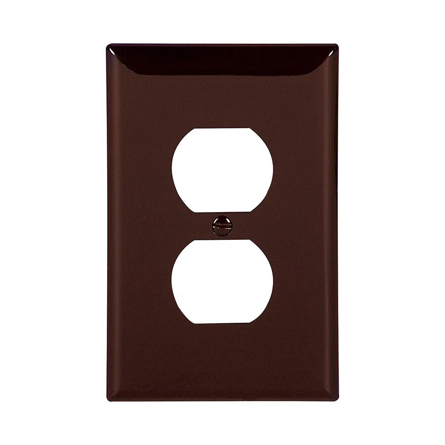 Eaton 1-Gang Brown Single Duplex Wall Plate