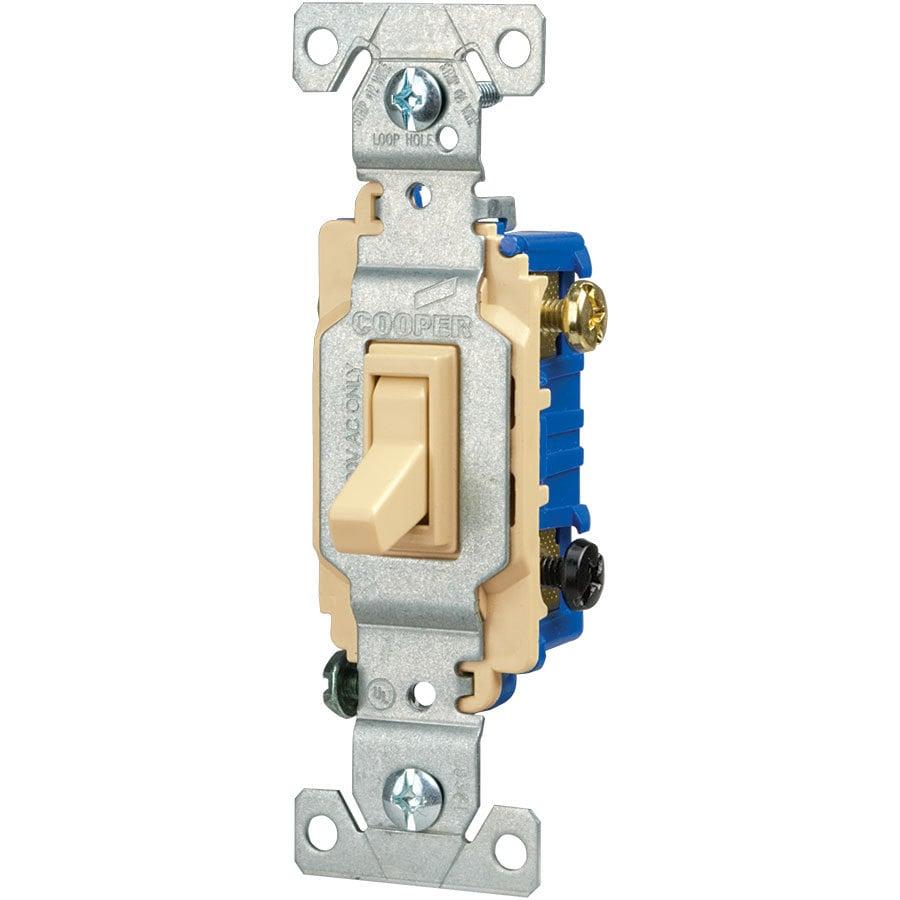 Eaton 15-Amp 3-Way Single Pole Ivory Indoor Toggle Light Switch